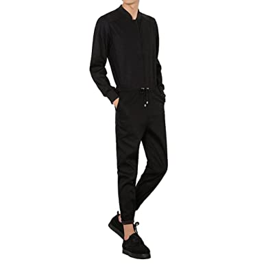 cdb9e399cec YOUMU Men Long Sleeve Zip Up Romper Jumpsuit Playsuit Streetwear Boilersuit Overalls  One Piece Black (