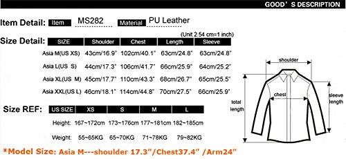 Senfloco Men's PU Leather Motorcycle Jacket Stand Collar Multi Pocket Jackets