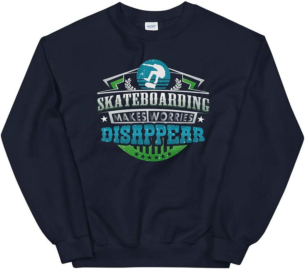 OrangePieces Skateboarding Makes Worries Disappear Athlete Gift Unisex Sweatshirt