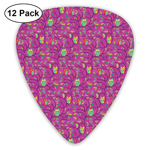 - Hoot Owl Perch On Magenta Bendy Ultra Thin 0.46 Med 0.73 Thick 0.96mm 4 Pieces Each Base Prime Plastic Jazz Mandolin Bass Ukelele Guitar Pick Plectrum Display