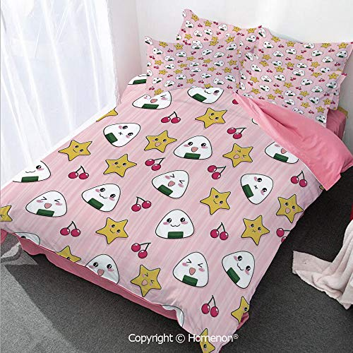 Homenon Anime Decor Duvet Cover Set Queen Size,Happy Crying Cute Cartoon Rice Balls Cherries Stars Pattern,Decorative 3 Piece Bedding Set with 2 Pillow Shams Pink Yellow and White ()