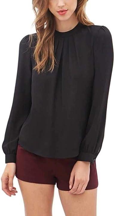 Camisa de Gasa Mujer Mujer Blusa Elegante Camisa Casual de Manga Larga Camisa de Trabajo para Mujer Camisa de Oficina: Amazon.es: Ropa y accesorios