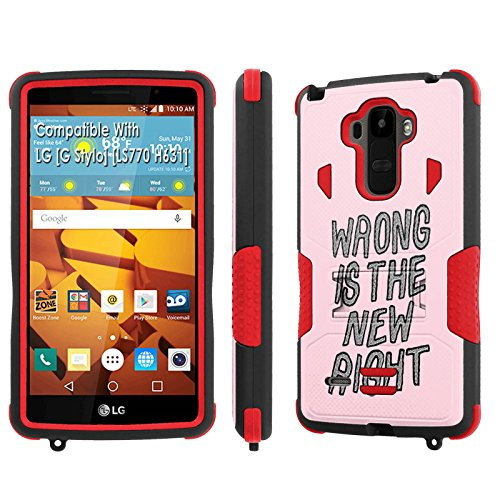 LG [G Stylo] Tough Case [SlickCandy] [Black/Red] Hybrid Combat [Kick Stand] [Shock Proof] Phone Case - [Wrong is the New Right] for LG [G Stylo] [LS770 H631] -  SlickCandy for LG [G Stylo], P-LGLS770-1E1-BKRD-VRI-P065C