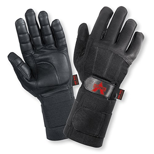 Valeo Industrial V435-WS All Leather Pro Full-Finger Anti-Vibe Gloves with Wrist Wrap, VI4876, Pair, Black, XL ()