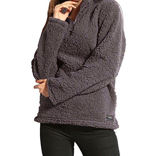 LuluZanm Womens Winter Warm Blouse Ladies Zipper Fleece Shirts Pullover Long Sleeve T-Shirts Sweatshirt Tops Dark Gray ()