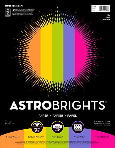 "Astrobrights Color Paper, 8.5″ x 11″, 24 lb/89 gsm,""Joy"" 5-Color Assortment, 500 Sheets (91414)"
