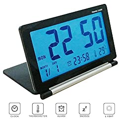 Pensenion Travel Alarm Clock- Digital Folding LCD Travel Clocks Ultra Thin with Night Light, Temperature and Calender for Home and Office, 4.13X2.60X0.59 inch - Black