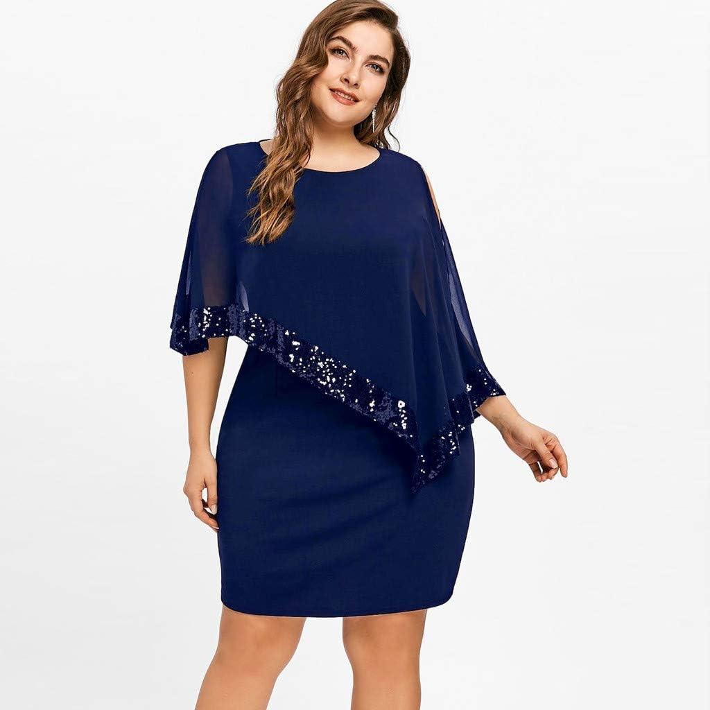 Aniywn Women Plus Size Dress Off Shoulder Patchwork Chiffon T-Shirt Solid Sequins Straight Mini Tops Dress