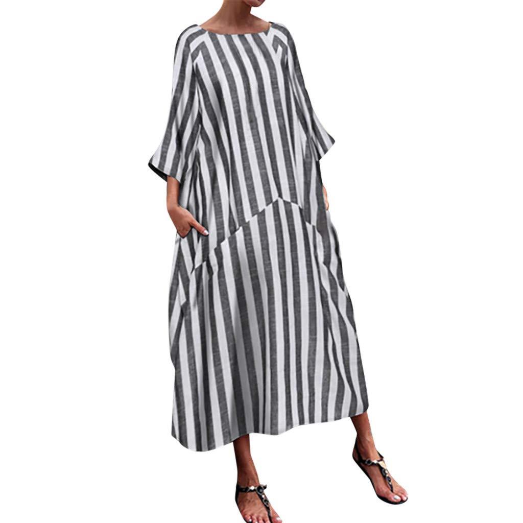 BeihxweWomen Fashion Stripe Flowy Casual Dress Bohemian Round Neck Long Sleeve Flowy Party Maxi Dress (M, Black) by Beihxwe