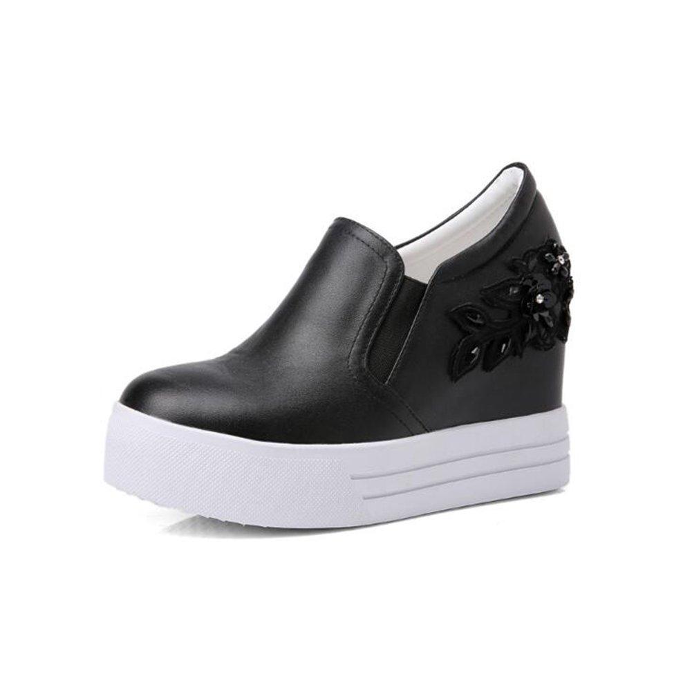 CJC Schuhe Leder Blaumen Weiße Schuhe Frauen Dicke Schuhe (Farbe   schwarz, Größe   EU39 UK6)