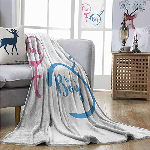 Homrkey Cozy Blanket Gender Reveal Text with Boy and Girl Gender Sign Simplistic Announcement Print Charisma Blanket W70 xL84 Pale Pink and Blue