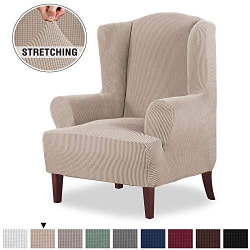 High Stretch Spandex Jacquard Sofa Cover/Wing Chair Slipcover 1 Piece Wing Back Chair Furniture Cover Slipcover,with Elastic Loops Stay in Place, Machine Washable (Wing Chair, Sand)