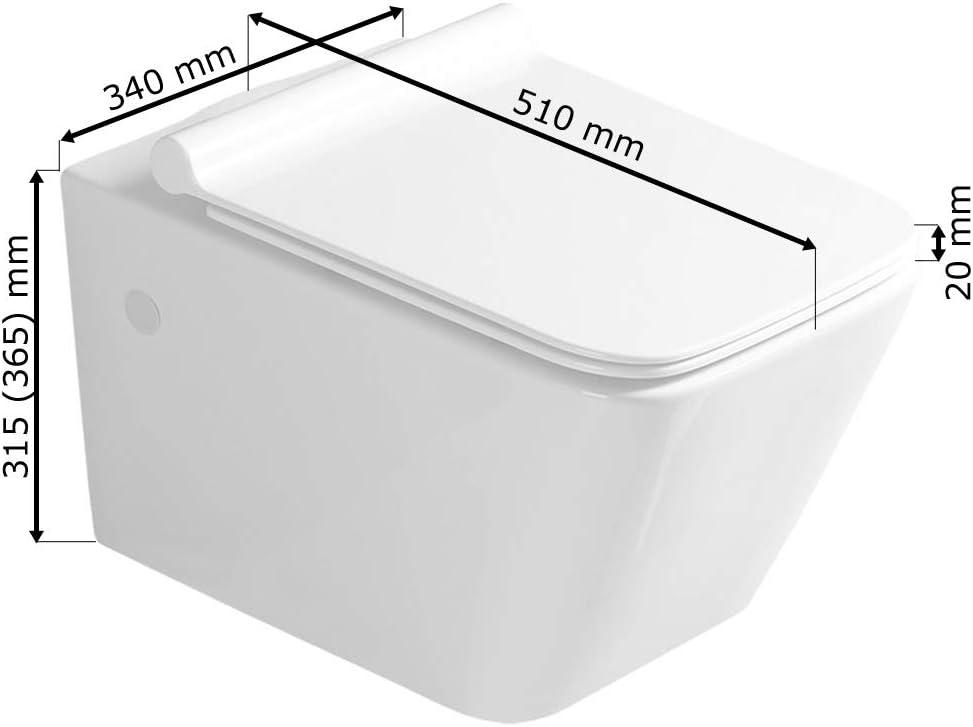 Sanlingo Keramik Wand H/änge WC Toilette Sp/ülrandlos Softclose Wei/ß Tiefsp/üler WC Sitz Eckig