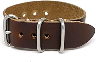 product image for DaLuca 1 Piece Military Watch Strap - Brown Chromexcel (Matte Buckle) : 18mm