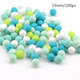 Baby : Baby Love Home 100pcs 15mm Baby Silicone Teether Beads Nursing Necklace Green Series Chewable Round Ball for Dummy Clip