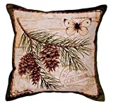 "Cheap ""Gone Camping"" Pinecone Branch Decorative Throw Pillow 17″x 17"