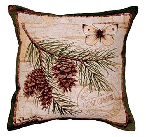 """Cheap """"Gone Camping"""" Pinecone Branch Decorative Throw Pillow 17″x 17"""