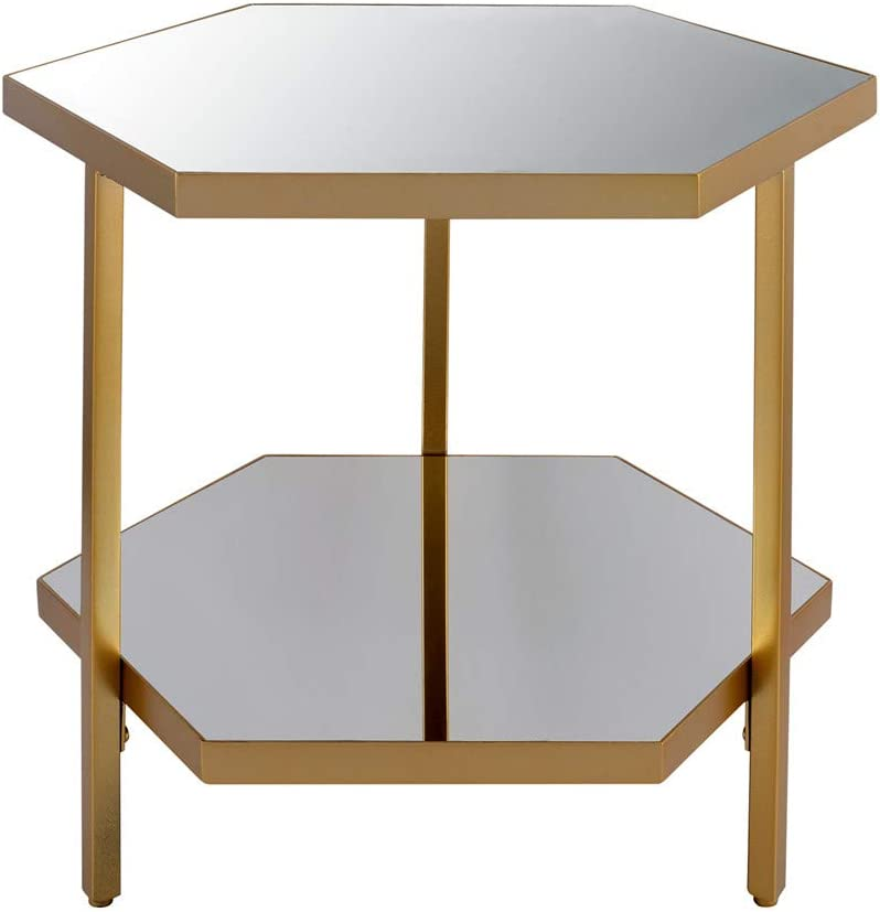Modern Mirror Glass and Metal End Table, Double Layer Side Tables for Living Room, 18.5x16x18.5inch