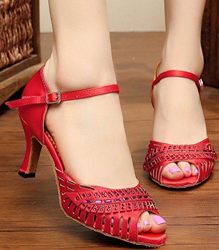 Abby Donna Ventilato Scava Fuori Moda Latino Peep Toe In Raso Scarpe Da Ballo Professionali Rosse