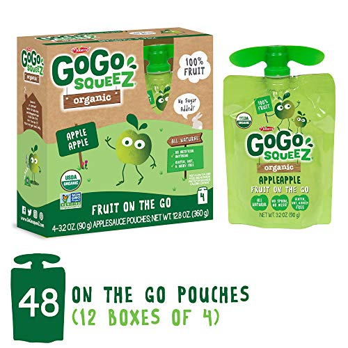 GoGo squeeZ Organic Applesauce on the Go, Apple Apple, 3.2 Ounce (48 Pouches), Gluten Free, Vegan Friendly, Healthy Snacks, Unsweetened Applesauce, Recloseable, BPA Free Pouches