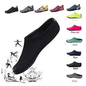 Water Shoes For Women Hlm Barefoot Running Aqua Socks Quick-Dry Mutifunctional Lightweight For Swimming Surfing Beach Walking Garden, Boating (Us Women-7/Men-6 - 2.Black )