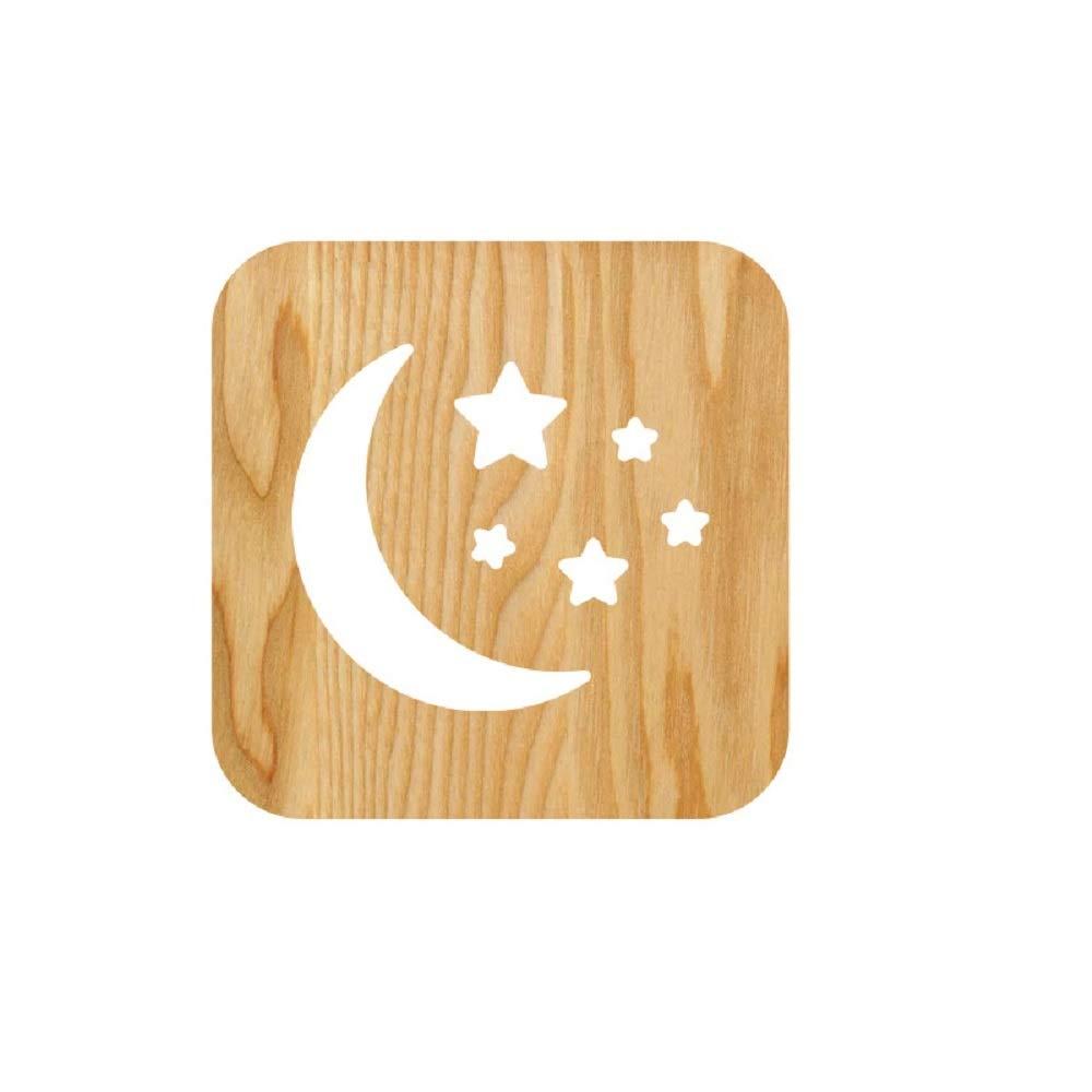 Moon Wood and Star B07DB8H5B9 LEDテーブルデスクランプ3dランプ漫画木製Nightlight Star、USB電源ホームベッドルームの装飾ランプ、3d Wood CarvingパターンLEDナイトライトウォームホワイト B07DB8H5B9, エコ肥料店:1175233f --- ijpba.info