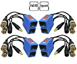 Igreeman 4 Pair Passive Video Balun BNC to RJ45 Adapter with Power (Upgraded Solution) Full HD 1080P-5MP Surveillance Security Camera Ethernet Cable Transceiver Cat5e/Cat6 Cable to BNC Male Connector