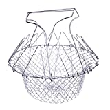 SODIAL(R) Stainless Steel Anti-hot Chef Basket Home Kitchen Supplies (Silver)