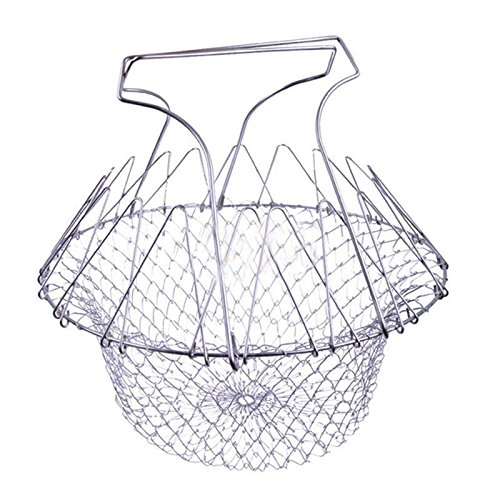 SODIAL(R) Stainless Steel Anti-hot Chef Basket Home Kitchen Supplies (Silver) 092756