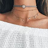 Barogirl Gold Layered Necklace Beads Sun Choker Boho Star Clavicle Necklace for Women and Girls