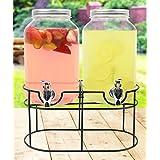 Estilo EST2760 Glass Mason Jar Double Beverage Drink Dispenser On Metal Stand with Leak Free Spigot, Clear, 1 gallon