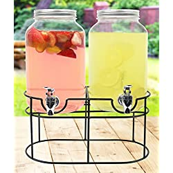 Estilo 1 gallon Glass Mason Jar Double Beverage Drink Dispenser On Metal Stand With Leak Free Spigot
