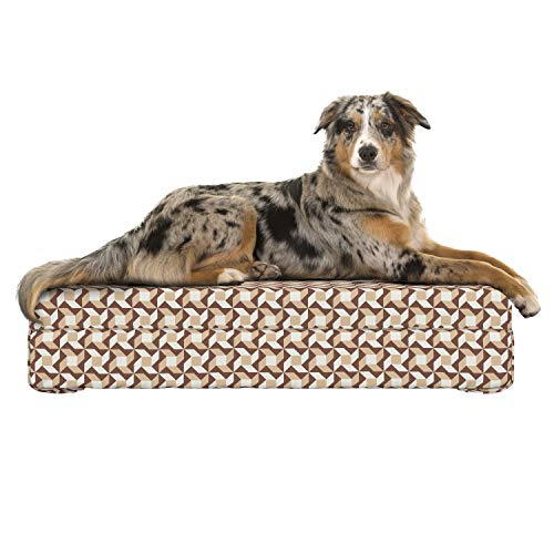 Lunarable Abstract Dog Bed, Geometrical Checkered Pattern with Floral Motifs Sharp Petals Squares, Dog Pillow with High Resilience Visco Foam for Pets, 32