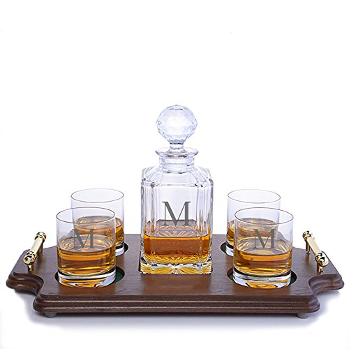 Custom Crystal Whiskey Decanter Rocks Wood Tray Set by Crystalize Engraved & Monogrammed (Custom Rocks Wood Tray Set) by Crystalize