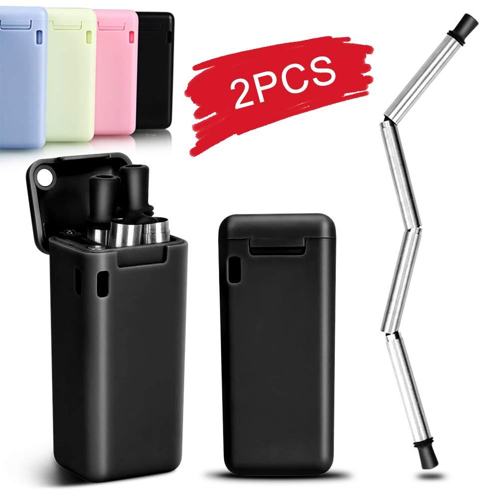 paquete de 2 unidades azul HINATAA Pajitas plegables reutilizables plegables de acero inoxidable con estuche r/ígido y cepillo de limpieza sin BPA