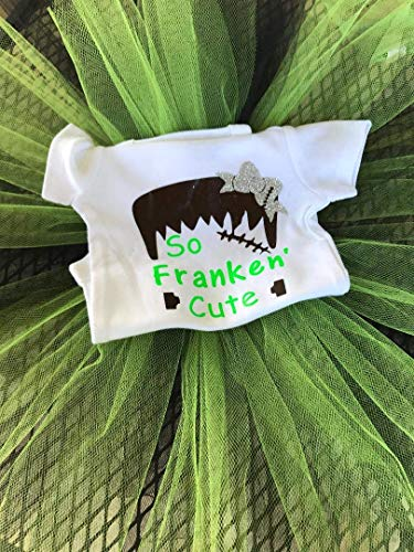 So Franken' Cute Onesie/T Shirt with Green and Black Tutu/Frankenstein Kids Costume -