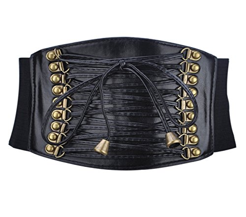 Wide Black Retro Elastic Stretch Waist Band Corset Belt - 8