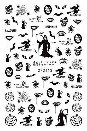 LiPing Horror Design Halloween 3D Nail Art Stickers Manicure Adhesive Transfer Decals Sequins Colorful DIY Nail Art Decoration Tool (D)