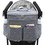 Conleke Luxury Stroller Organizer,Baby Stroller Accessories, Universal Parents Diaper Stroller Bag,Travel Bag W/ Removable Shoulder Strap for Carrying Bottles,Diapers,Cup Holder&Storage Pockets,Fits Most Baby Strollers (Grey) (F-Grey)