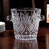 Image of Elegant Crystal Ice Bucket with handles, wine cooler bucket, For weddings,events, parties