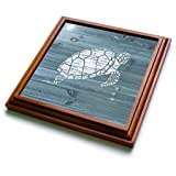 3dRose trv_261843_1 White Painted Turtle on Blue Weatherboard Not Real Wood Trivet with Tile, 8 by 8''