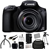 Canon PowerShot SX60 HS Digital Camera + 32GB Bundle 12PC Accessory Kit. Includes 32GB Memory Card + High Speed Memory Card Reader + Extended Life Replacement Battery (NP-10L) + Charger + Mini HDMI Cable + Full Size Tripod + Carrying Case + Flexible Grips