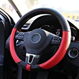 LotFancy Microfiber Leather Car Steering Wheel Cover, Universal 15 inch Fit for Car Truck, SUV, Breathable, Non-Slip Grip, Odorless, Black & Red