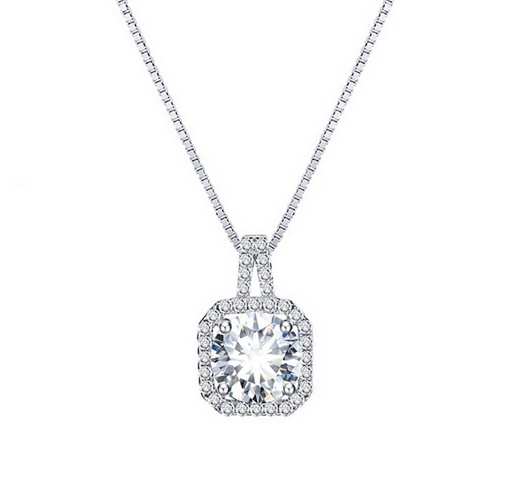 Azelias Jewelry Genuine .925 Sterling Silver Plated Austrian Crystal Designer Setting Pendant Necklace