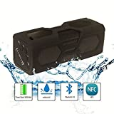 Waterproof, Shockproof, Heat Resistant, Impact Resistant. 10 Hour Playtime, Ultra-Portable Bluetooth Speaker V4.0 with NFC, 3600 Mah Li-ion Battery, Power Bank, Ultra Bass Subwoofer / Built in Mic for Calls / NFC Function / Works with All Iphones and Ipad
