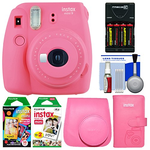 Fujifilm Instax Mini 9 Instant Film Camera (Flamingo Pink) with Case + Photo Album + 20 Twin & 10 Rainbow Prints + Batteries & Charger + Cleaning Kit by Fujifilm
