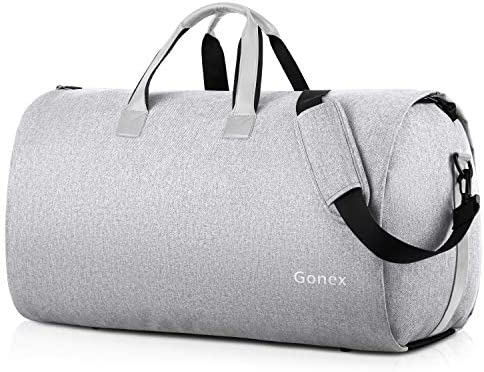 Gonex Garment Bag Carry on Duffle Suit Bag with Shoe Pocket, Convertible Hanging Duffel Travel Suitcase for Men Women Gray