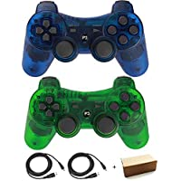 Kepisa Wireless Bluetooth Controller for PS3 Double Shock (ClearGreen and ClearBlue1)