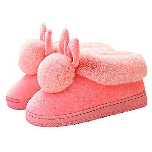 Minetom Damen Winter Baumwolle Pantoffeln Dickere Wärme Plüsch Kuschelige Hasenohren Home Hausschuhe Anti Rutsch Slippers A- Rosa