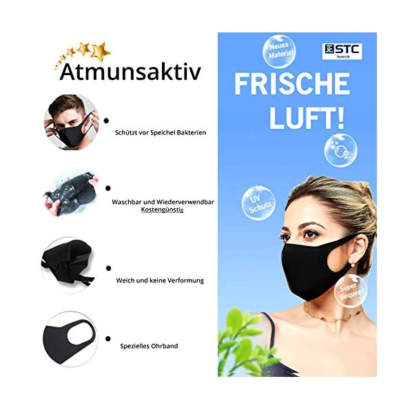 Sponduct-5-x-Mundschutz-Maske-Schwarz-Waschbar-Atmungsaktiver-Mund-und-Nasenschutz-Schlicht-und-enganliegend